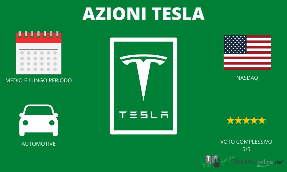 Azioni Tesla - riassunto infografica