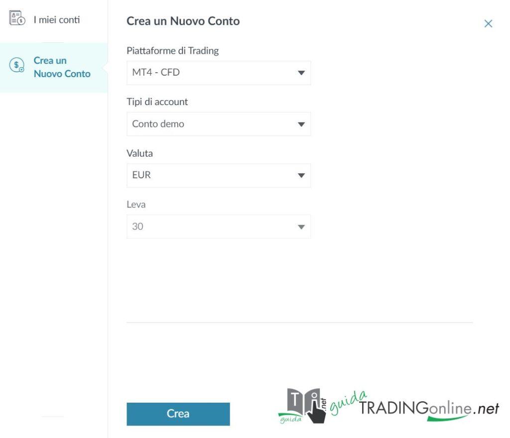 MT4 - schermata per apertura demo tramite Trade.com